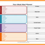 four week meal planner weekly meal planner with grocery list four week meal planner with