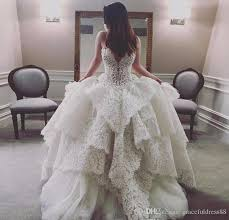 Discount Amazing Lace Tiered Wedding Dresses 2017 2018 Sheer Neck Sleeveless A Line Bridal Gowns With Beading Chain On Back Wedding Vestidos A Line