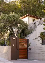 Suburb modern portal home white metal aluminum house gate slats. Modern Home Gate Designs Houzz
