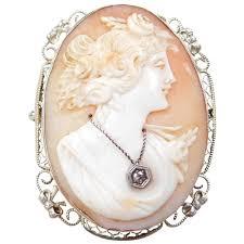 art nouveau 14k white gold cameo pendant brooch diamond accent