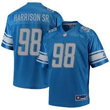 Blue Pro Harrison Jersey Player Damon Nfl Men's Line Sr Detroit Lions