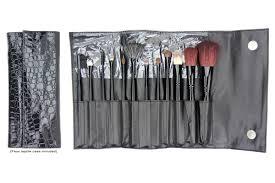 black cosmetic brush set w faux reptile case