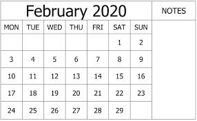 February 2020 Calendar Template Printable February 2020 Calendar Printable Make Your Daily To Do