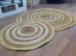 lovely braided cotton jute multi colour pastel round round cotton rugs uk