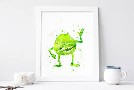 mike wazowski poster monsters inc poster mike wall art nursery print