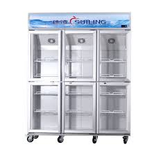 china high efficiency commercial 6 glass door refrigerator fan cooling dual compressor supplier