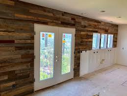 reclaimed barn wood shiplap accent wall