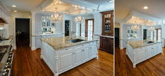 custom white kitchen with french blue hutch