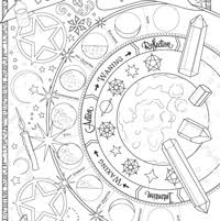 the coloring book of shadows includes over 70 pages of original hand drawn magical art wheel of the year the elements astrology crystals herbs
