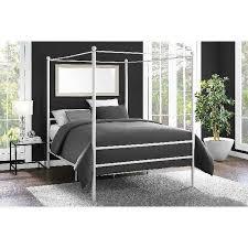Details about White Canopy Bed Frame Platform Full Size Princess Girls Kids Bedroom Furniture