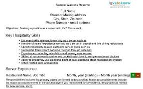 Waitress Skills For Resume Waiter Resume Skills Duties Of A Waitress To Put On A Resume
