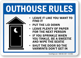 office bathroom rules. Brilliant Rules Outhouse Rules Put The Lid Down Sign For Office Bathroom C
