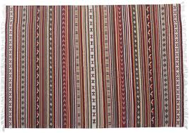 multicolored kilim carpet area rug with tassels and striped pattern hand woven floor mat in wool