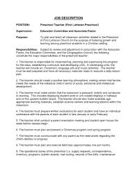 Preschool Teacher Assistant Job Description Resume Yun56 Co Exles