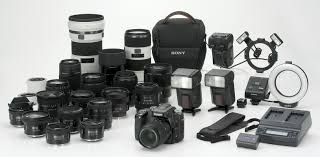 sony digital slr camera. alpha system: this sony image shows most of the main elements system that will be available year, including rapid chargers and flash digital slr camera n
