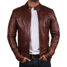 men s leather biker jacket zenith brown