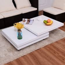 costway square rotating coffee table w 3 layers 360 degree swivel along with 17
