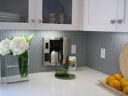 Grey Vertical Subway Tile Backsplash And White Cabinets Design For
