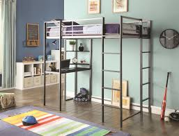 silver metal metal bunk beds with desk on the wooden floor