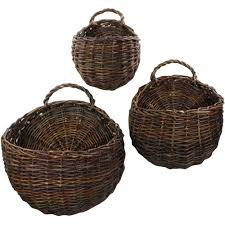 wall mounted storage baskets set of 3 image