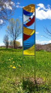 stained glass garden stakes instructions blown gl yard art totems for features sun sailor of at