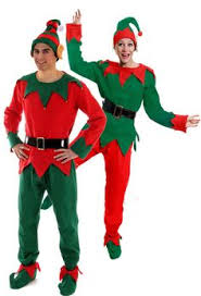 Adults Christmas Elf Outfit With Ears Male Fancy Dress Costume