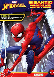 Peter parker, a child and a truck. By Marvel Comics 2 Books 96 Pgs Each Spider Man Coloring Activity Book Set Arts Crafts Drawing Painting Supplies