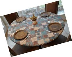 fitted vinyl table cover flannel back cloth kitchen coffee pattern round elastic
