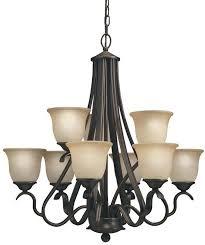 portfolio linkhorn 9 light iron stone vintage scavo glass shaded chandelier