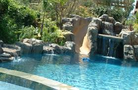 backyard pools with waterfalls and slide.  Waterfalls Inground Pools With Waterfalls Gorgeous Pool There Is A Rock Grotto Slide  Swim Up Bar With Backyard And