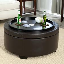 round ottoman coffee table amazing round storage ottoman with tray for charming best pertaining to leather