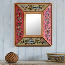 peruvian reverse painted glass mirror