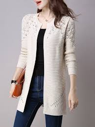 Long Sleeve Crocheted H Line Plus Size Knitted Cardigan