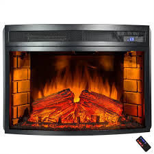 freestanding electric fireplace insert heater in black with curved