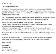 Resume Template For Letter Of Recommendation Sample Letter Of Recommendation For Administrative All New