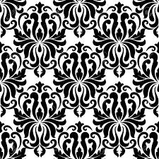 Naadloze Vet Zwart Gekleurde Bloemen Arabesk Patroon In Damaststijl Motieven Geschikt Voor Behang Tegels En Textiel Ontwerp Geã Soleerd Op Wit
