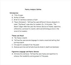 Poetry Analysis Essay Outline Format Literary Example Analytical