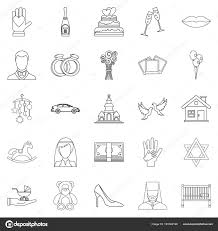 Wedding Icons Set Outline Style Stock Vector Ylivdesign 191082166