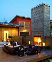modern fireplace red wall