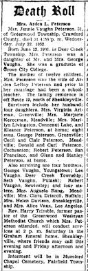 Jennie Vaughn Peterson Obituary 1952 - Newspapers.com