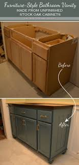 Teal Furniture Style Vanity Made From Stock Cabinets Finished