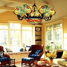 stained glass chandelier erfly suspension lighting fixtures 8 heads dragonfly lamp retro art hardware