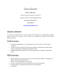 Cover Letter Dance Resume For College Sample Dance Resume For