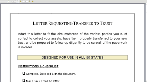 Letter Requesting Transfer To Trust Youtube