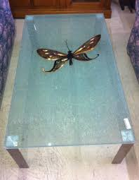 brand new shattered glass coffee table contemporary simple erfly brown design home transparant cler decors