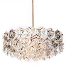 mid century seven light hexagonal crystal glass gilt brass chandelier from kinkeldey 1