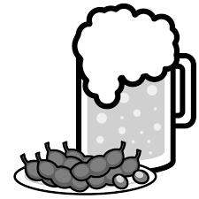 かわいいビールと枝豆の無料イラスト商用フリー オイデ43
