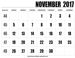 2017 calendar november free printable calendar com