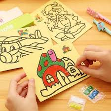 5pcs lot kids diy color sand painting art creative drawing toys sand paper art crafts