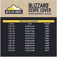 Butler Creek Multiflex Size Chart Butler Creek Blizzard See Thru Scope Cover Size 7 1 80 To 1 89 Inch